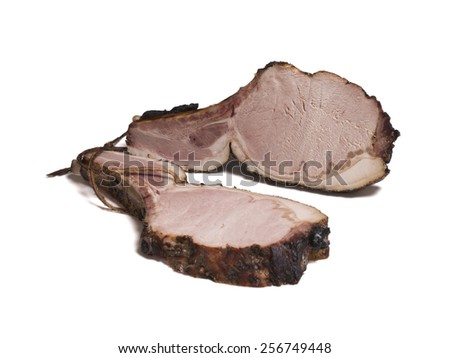 smoked meat on a bone on white background - stock photo
