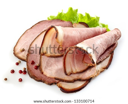 Smoked meat slices on white background - stock photo
