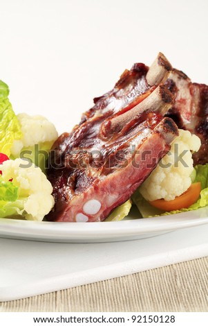 Smoked pork ribs with vegetables