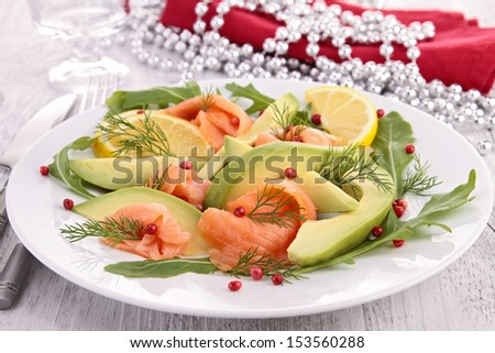 smoked salmon and avocado - stock photo