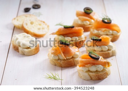 Smoked Salmon and Cream Cheese Canape - stock photo