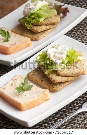 Smoked salmon and dill terrine with biscuits and lettuce - stock photo