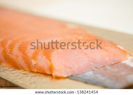 Smoked salmon appetizer - stock photo