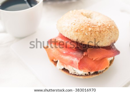 Smoked Salmon Bagel with Cream Cheese, Added with color and tone effect