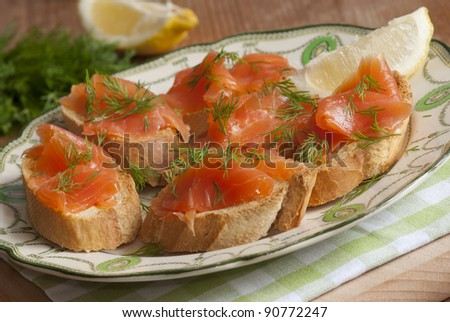 Smoked salmon canapes on a plate