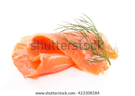 smoked salmon isolated on white