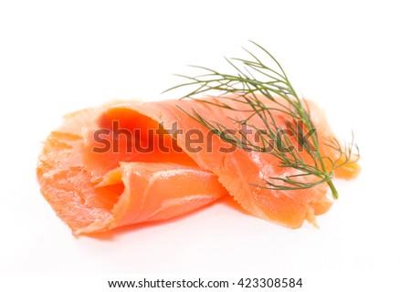smoked salmon isolated on white - stock photo