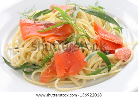 smoked salmon pasta - stock photo