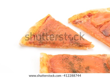 smoked salmon pizza on white background