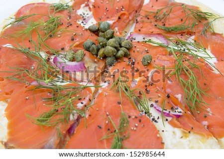 Smoked Salmon Pizza Topped with Capers Dill Cream Cheese Onion Tomato ...