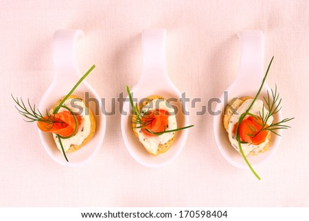 Smoked salmon roll on white bread and remoulade, top view - stock photo