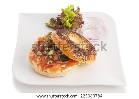 Smoked salmon with cream cheese, dill and celery, isolated on white.