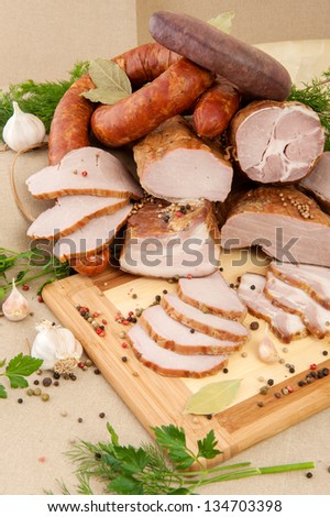 smoked sausage and meat - stock photo