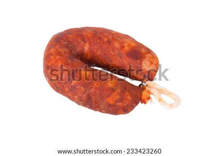 smoked sausage isolated on white background