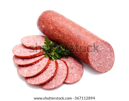 Smoked sausage salami isolated on a white background - stock photo