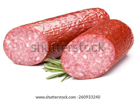 Smoked sausage salami isolated on white background cutout - stock photo