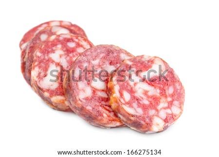 smoked sausage slices on a white background  - stock photo