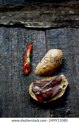 Smoked wild boar meat and  served  with chilli jam - stock photo