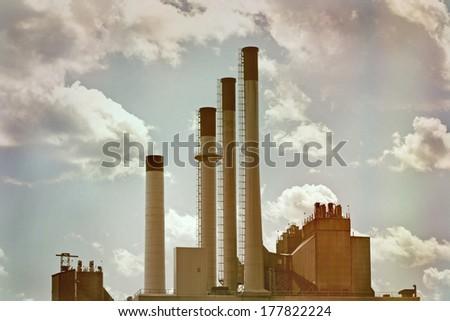 Smokestacks  - stock photo