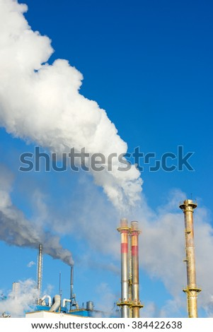 Smokestacks in a paper mill, Zaragoza Province, Spain. - stock photo