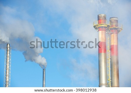 Smokestacks in a paper mill, Zaragoza Province, Spain. - stock photo
