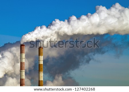 Smokestacks Pollution in the air - stock photo