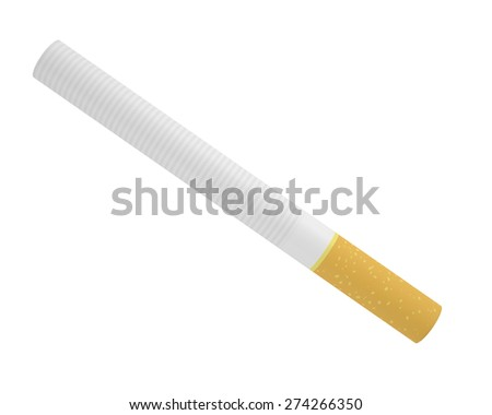 Smoking a cigarette isolated on a white background - stock photo