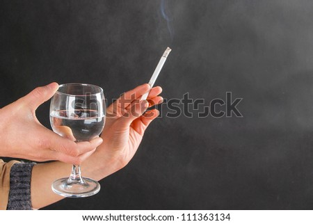 Smoking and drinking - stock photo