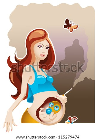 Smoking and Pregnancy - stock photo