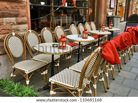 Smoking area with plaids in cold time, Stockholm, Sweden. - stock photo