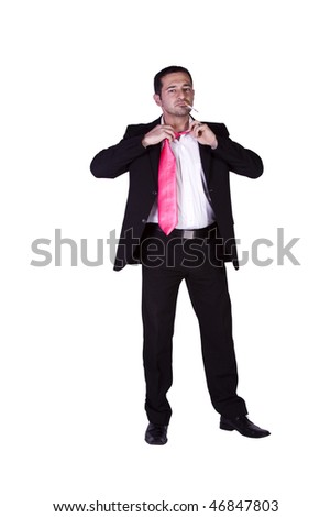 Smoking Businessman Taking His Tie Off - Isolated Background - stock photo
