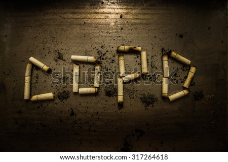 Smoking can cause diseases and dead. Smoking should be stopped. Chronic obstructive pulmonary disease is most common disease in long time smoker. - stock photo