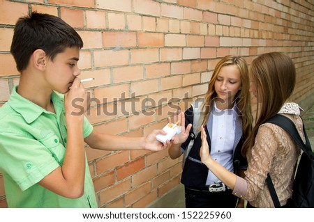 Smoking cessation in the street - stock photo