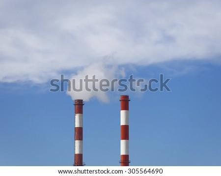 Smoking chimney pollution air - stock photo