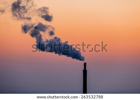 smoking chimneys in the industrial zone in linz, austria, upper austria - stock photo