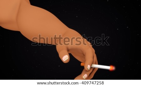 smoking cigarette 3d illustration