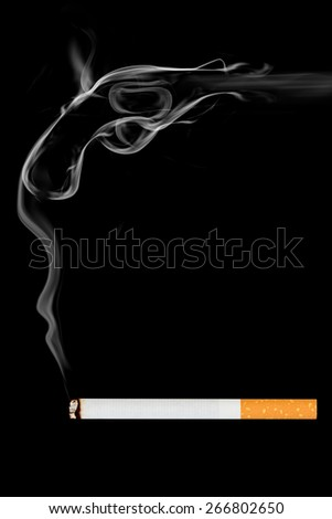smoking cigarette on black background.Commit suicide - stock photo