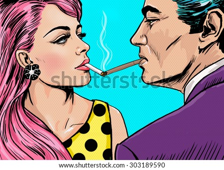 Smoking couple in Pop Art style.Love couple.Pop Art Couple.Pop Art love.Valentines day postcard.Hollywood movie scene.Real love.Movie poster.Comic book love.Party people looking into each others eyes - stock photo