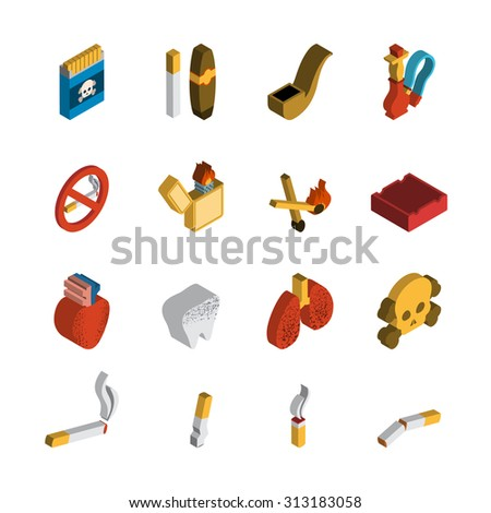 Smoking 3d isometric icon set with matches cigar pipe isolated  illustration - stock photo
