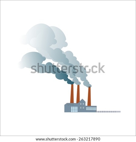 Smoking dirty polluting plant or factory on a neutral background - stock photo