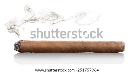 Smoking havana cigar isolated on a white background - stock photo