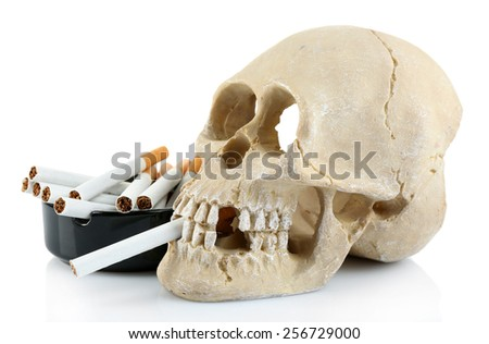 Smoking human scull with cigarette in his mouth, isolated on white - stock photo