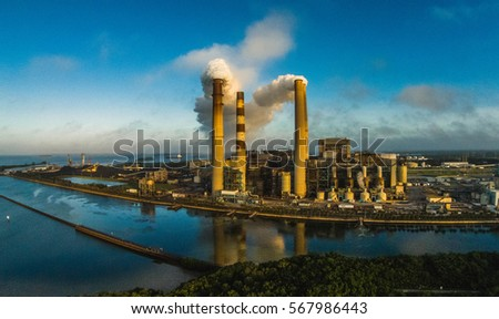 Smoking Industrial Stacks Aerial