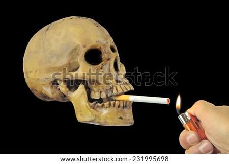 Smoking kills or Stop smoking conceptual image with skull - stock photo