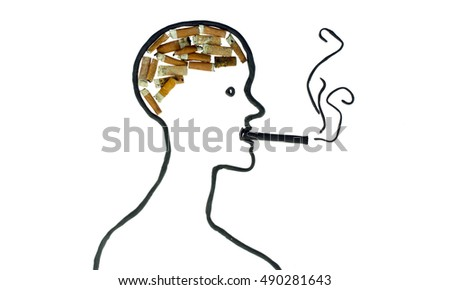 smoking man brain, clay and cigarette butt