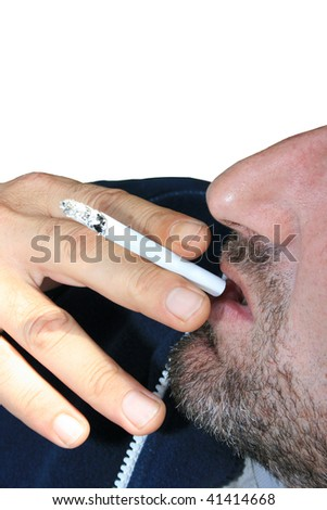 Smoking man on white background.