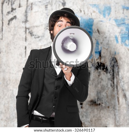 smoking man shouting with megaphone