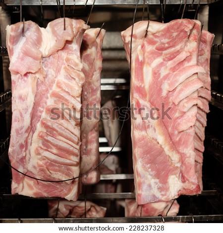 Smoking meat - stock photo