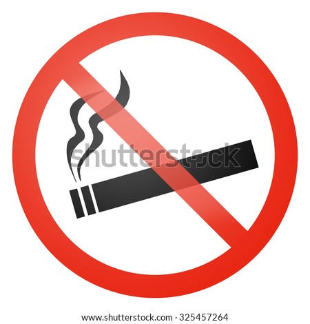 Smoking not allowed sign - white background - stock photo