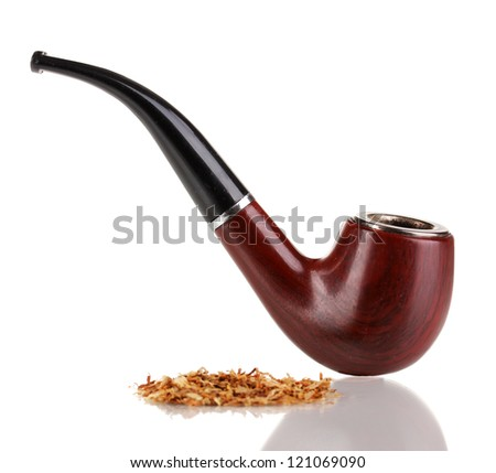 Smoking pipe and tobacco isolated on white - stock photo